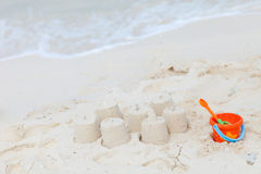 Beach toys on tropical beach Royalty Free Stock Image