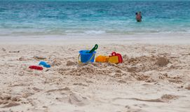 Beach toys on a tropical beach Royalty Free Stock Image