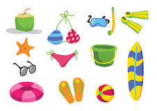 Beach toys vector cartoon. Design Royalty Free Illustration
