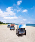 Beach and traditional wooden beach chairs, Rugen, Germany Royalty Free Stock Photography
