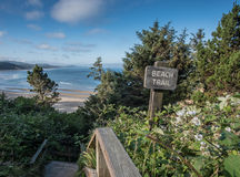 Beach Trail Sign and Flight of Stairs. Along Oregon coast Stock Image