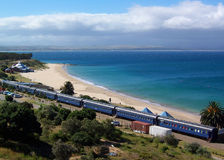 Beach train. Train restaurant by the beach in South Africa Royalty Free Stock Photo