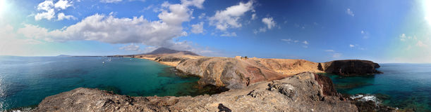 Beach with transperent water, panoramic shot. Lanzarote, Canary Islands, Spain Stock Image