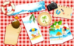Beach Travel. Illustration of travel banner and photograph of sea beach Stock Photography