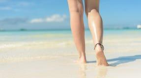 Free Beach Travel Concept. Sexy Legs On Tropical Sand Beach. Walking Female Feet. Closeup Stock Photography - 161026802