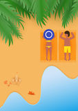 Beach. Travel concept. Summer poster background. Couple are sunbathing on the beach in summer vacation. Vector illustration Royalty Free Stock Photo