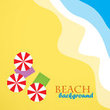 Beach travel sea background  with umbrella. And blanket Stock Image