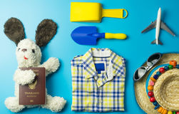 Beach travel toys and fashion objects. Children beach travel toys and fashion objects Stock Image