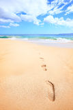 Beach travel vacation concept - footsteps in sand. On beautiful sunny summer day during getaway holidays under the blue sky. From Makena beach, Maui, Hawaii Royalty Free Stock Photo
