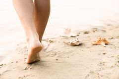 Beach travel - woman walking. Woman walking on sand beach leaving footprints in the sand Royalty Free Stock Photos