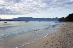 Beach of Trawangan island. At morning, in Gili island, Indonesia Stock Image