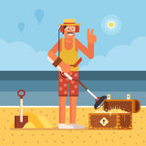 Beach Treasure Hunter with Metal Detector. Beach treasure hunter using metal detector on seashore background.  Success and winning new possibilities concept Stock Photography