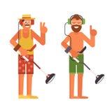 Beach Treasure Hunter with Metal Detector. Treasure hunter vector illustration. Smiling beard summer man with beach metal detector in headphones Stock Photography