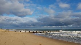 Lonely Beach at Trimmingham, UK royalty free stock photo