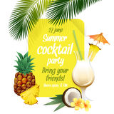 Beach tropical cocktail pina colada with garnish and pineapple c Stock Photography