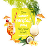 Beach tropical cocktails bahama mama and pina colada with garnis Stock Images
