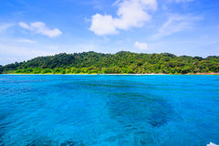 Beach of tropical crystal clear sea, Tachai island, Andaman Royalty Free Stock Images