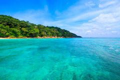 Beach of tropical crystal clear sea, Tachai island, Andaman Royalty Free Stock Image