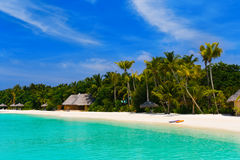 Beach at a tropical island. Travel background Royalty Free Stock Images