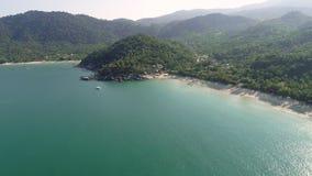 Beach, tropical island, sea bay and lagoon, jungles stock footage