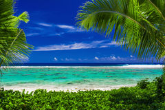 Beach on tropical island during sunny day framed by palm trees Royalty Free Stock Photography