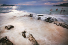 Beach and tropical sea. Patong Beach is the most popular and well-developed beach on Phuket Island. Long recognized as one of the world's Top 10 diving sites Stock Photography