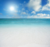 Beach and tropical sea. Beautiful beach and tropical sea stock images