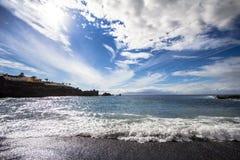 Beach and tropical sea. Beach and beautiful tropical sea on Tenerife island, Spain Royalty Free Stock Image