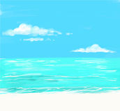 Beach and tropical sea with bright sun. And clouds vector illustration