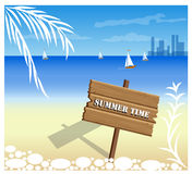 Beach. And tropical sea with bright sun. EPS10 vector Royalty Free Stock Photos
