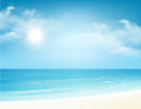 Beach and tropical sea with bright sun. Vector illustration Stock Photography