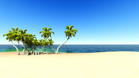 Beach and tropical sea. EPS10 vector. Royalty Free Stock Image