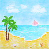 Beach and Tropical Sea or Ocean Summer Landscape. Watercolor Hand Drawn and Painted Royalty Free Stock Photo