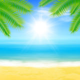 Beach and tropical sea with palmtree leaves Royalty Free Stock Image