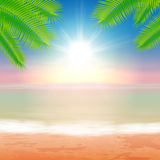Beach and tropical sea with palmtree leaves Royalty Free Stock Images