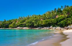 Beach and tropical sea soft wave of blue clear sky ocean on sand Royalty Free Stock Photos