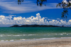 The beach. Tropical seashore with trees under blue sky Stock Photography