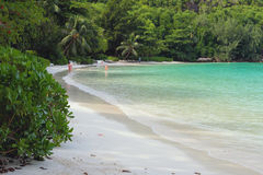 Beach in tropics. Port Launay, Mahe, Seychelles Stock Photo