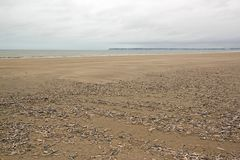 Beach of Trouville, spring tides Normandy France Royalty Free Stock Photography
