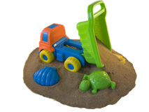 The beach truck. Truck and beach toys on the beach Royalty Free Stock Photos