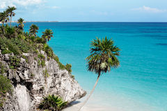 Beach at Tulum. Beach below the cliffs of Tulum, Mexico Royalty Free Stock Image