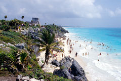 Beach at Tulum. Beach at the ruins of Tulum, Mexico Royalty Free Stock Photo