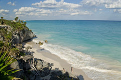 Beach in Tulum Mexico Stock Photo