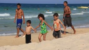 Beach. TUNISIA, SOUSSE, JULY 9, 2010: Tunisian children on the beach in Sousse, Tunisia, July 9, 2010 stock video footage