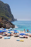 Beach in Turkey. Famous Cleopatra Beach in Alanya, Turkey Stock Image