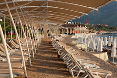 Beach in Turkey without a rest. Beach Hotel in Turkey without the tourists in the tourist season due to crisis Stock Images