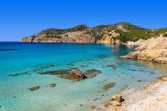 Beach turquoise sea bay mountains. Camp de Mar, Majorca island, Spain Royalty Free Stock Image