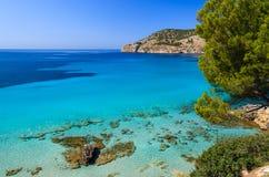 Beach turquoise sea bay mountains. Camp de Mar, Majorca island, Spain Stock Images