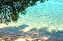 Beach and turquoise water of Aegean Sea Royalty Free Stock Image