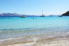 The beach and turquoise water on Mallorca island Stock Photo